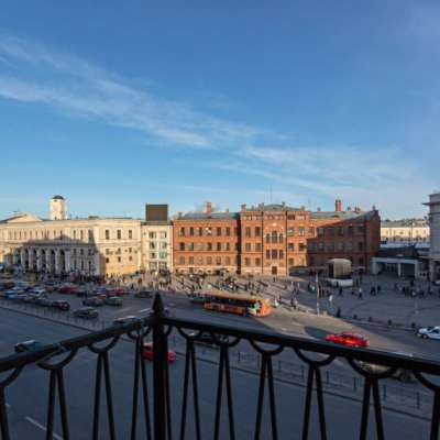 View from the hotel balcony to the Moskovsky railway station